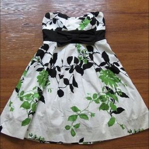 White, Green, Black Floral Dress
